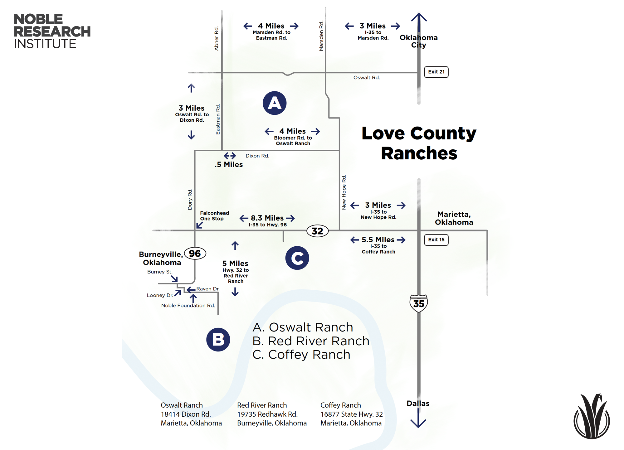 Love County Ranches Map