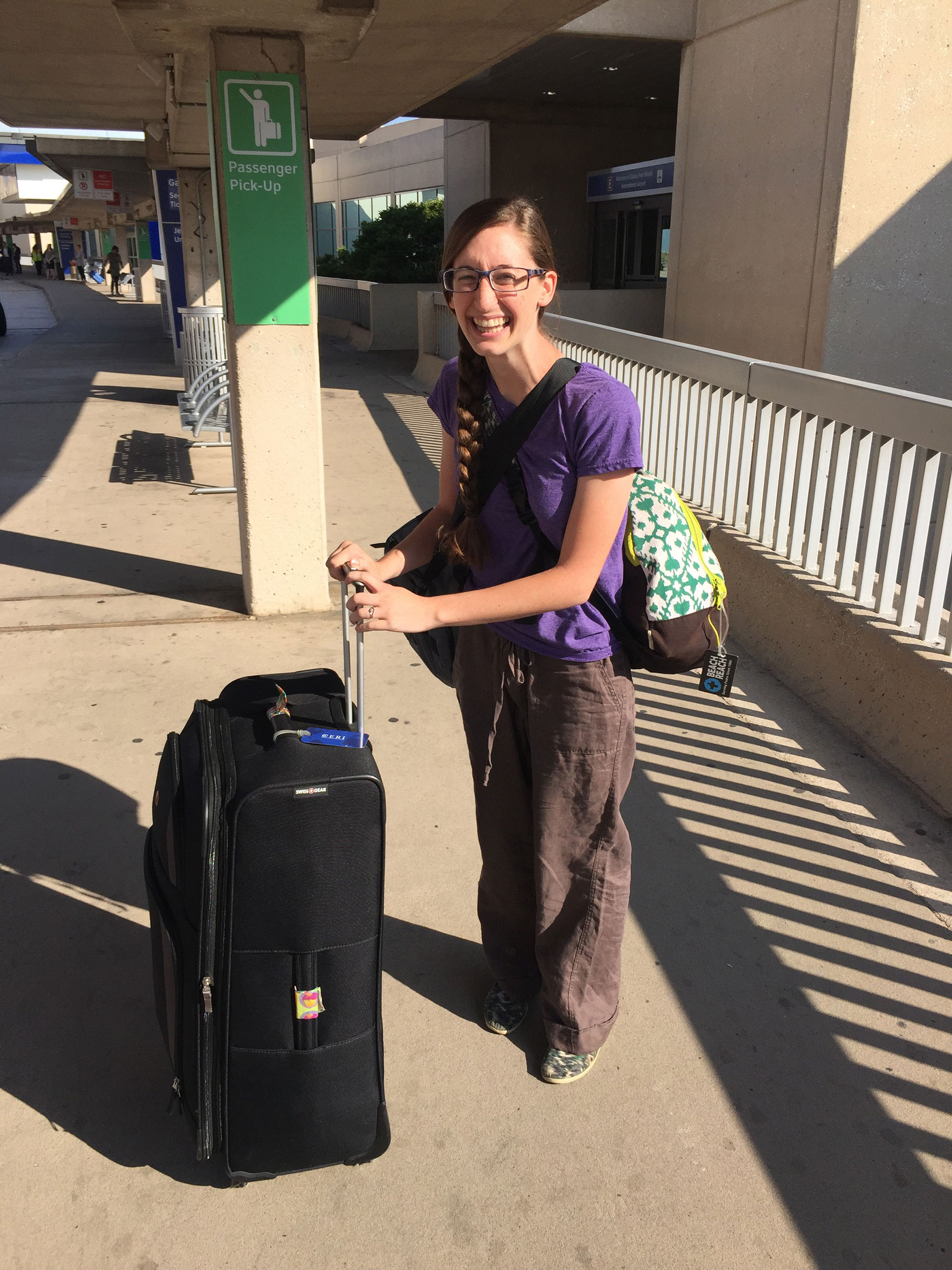 Catherine prepares for departure for Uganda at the airport