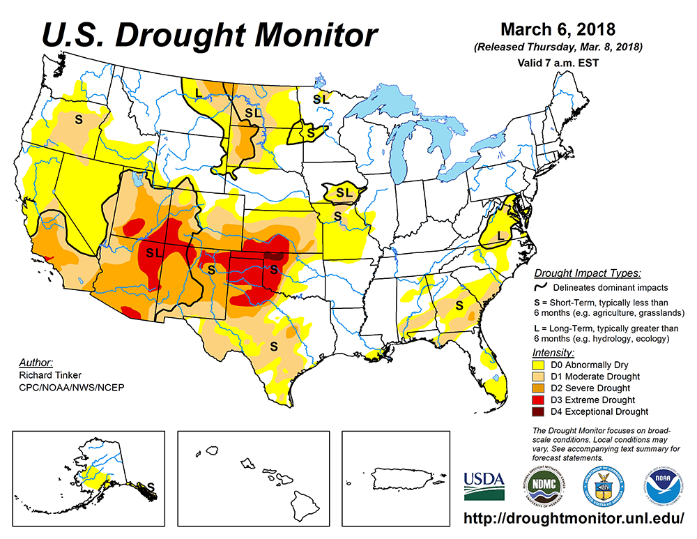 Drought map of Western Oklahoma and North Texas from http://droughtmonitor.unl.edu/