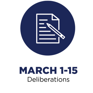 March 1-15: Deliberations