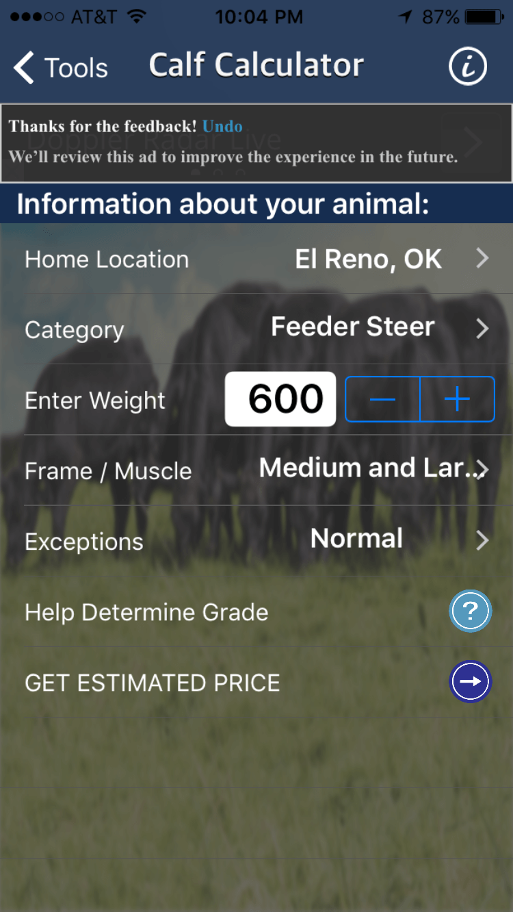 cattle market app screenshot