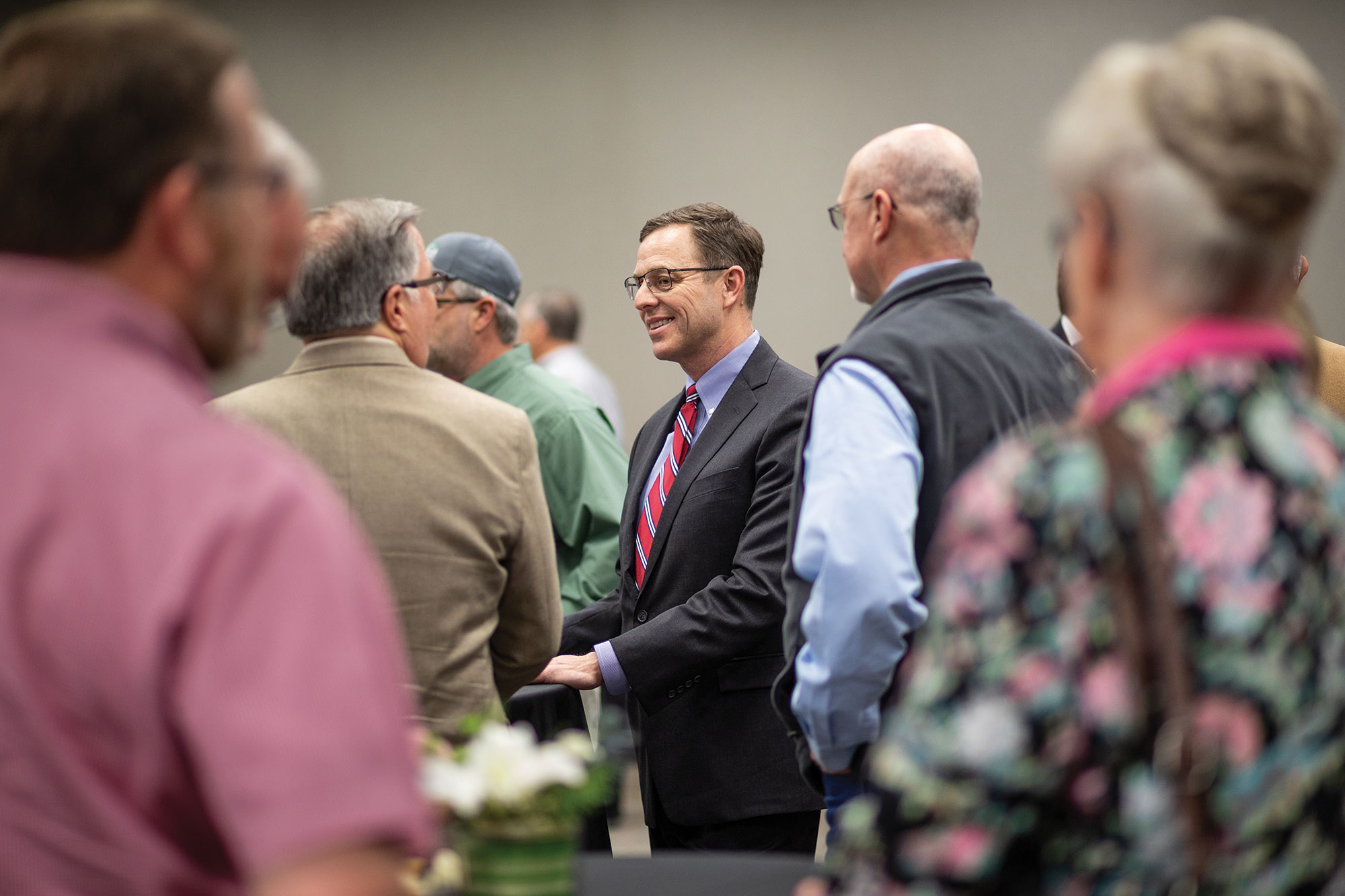 Steve Rhines talks with members of the Ardmore community during a meet-and-greet with the new Noble Research Institute president.