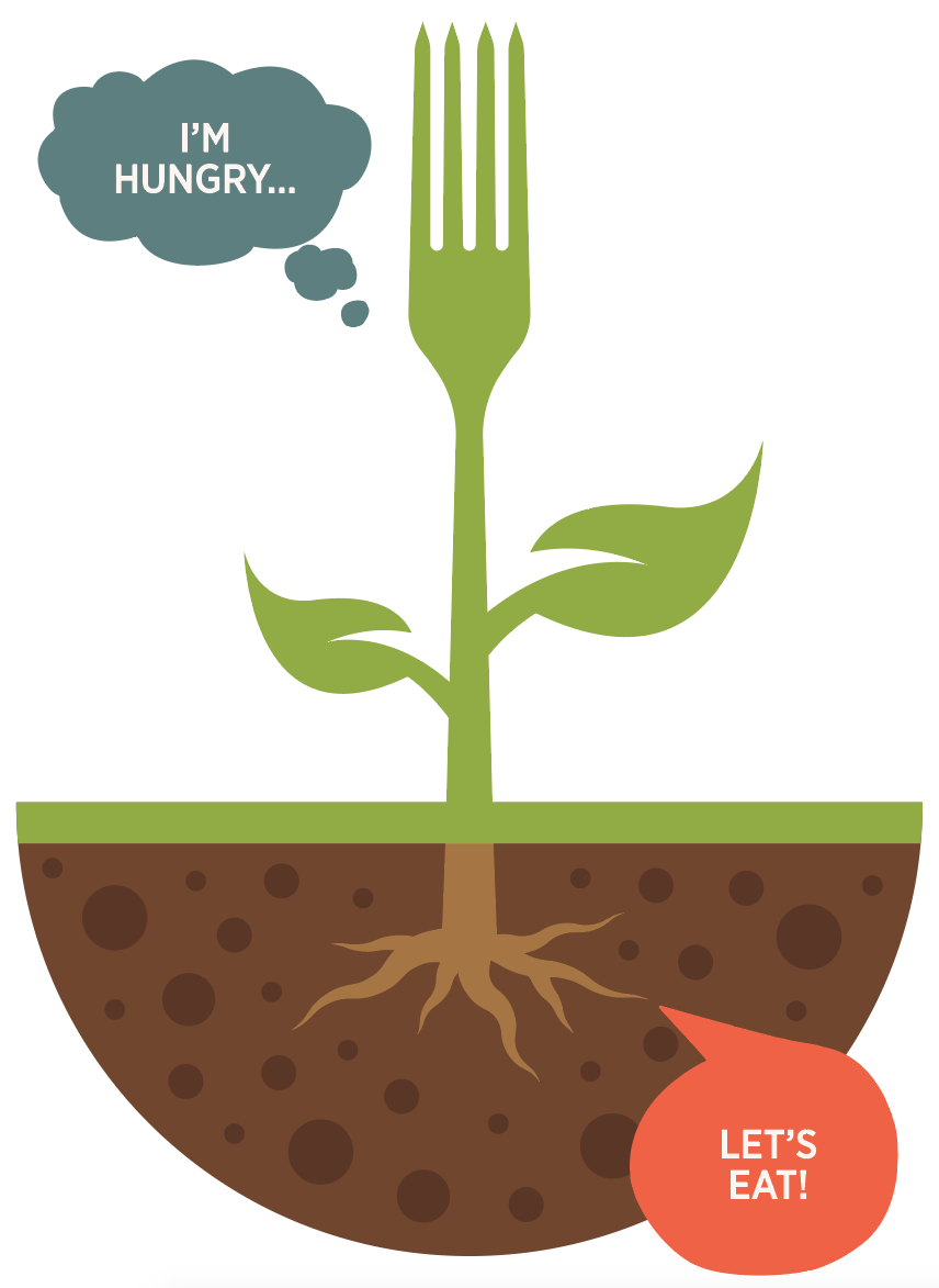 Illustration of plan roots taking in Nitrogen, saying 'Have Some More'.