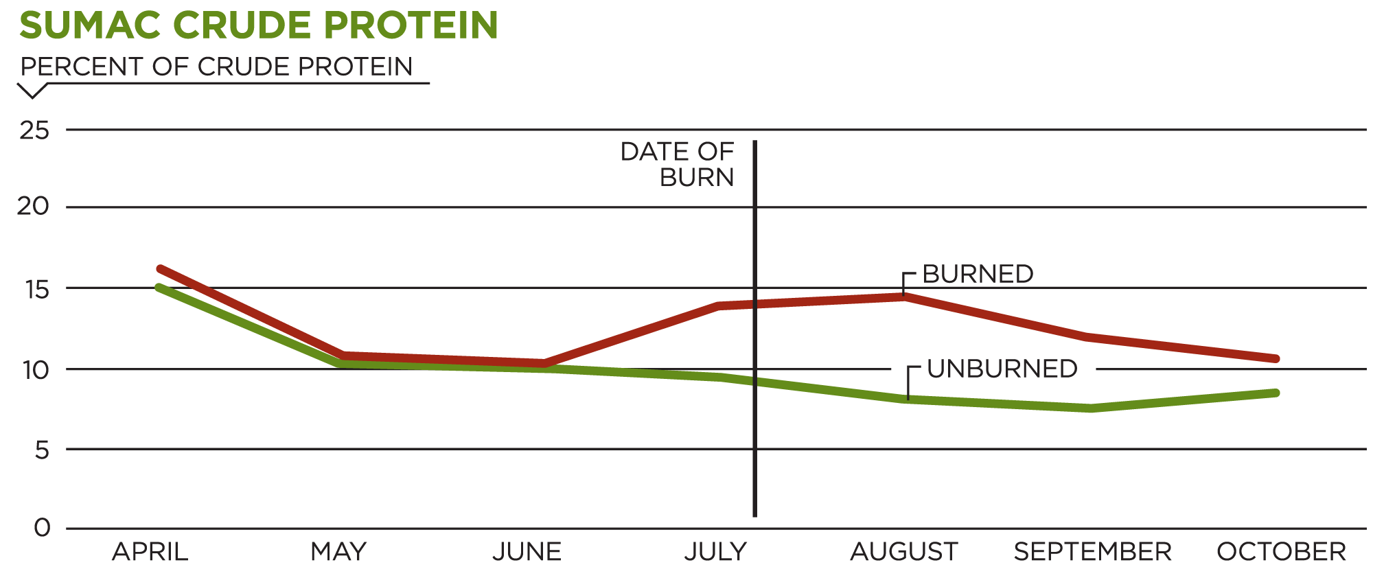Sumac Crude Protein Chart showing differences in crude protein in plants before and after growing season prescribed burns.