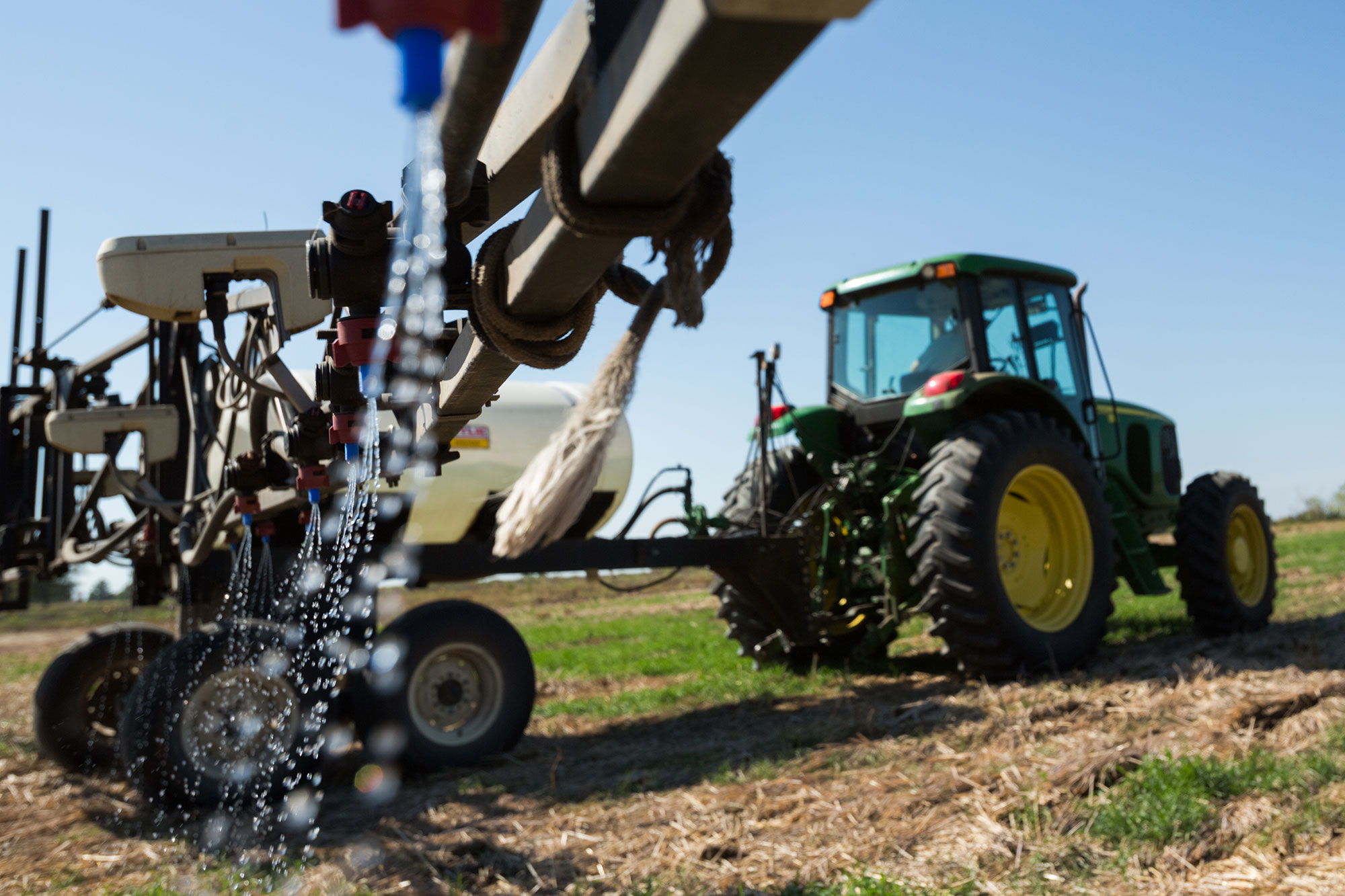 Tractor applies chemical weed control