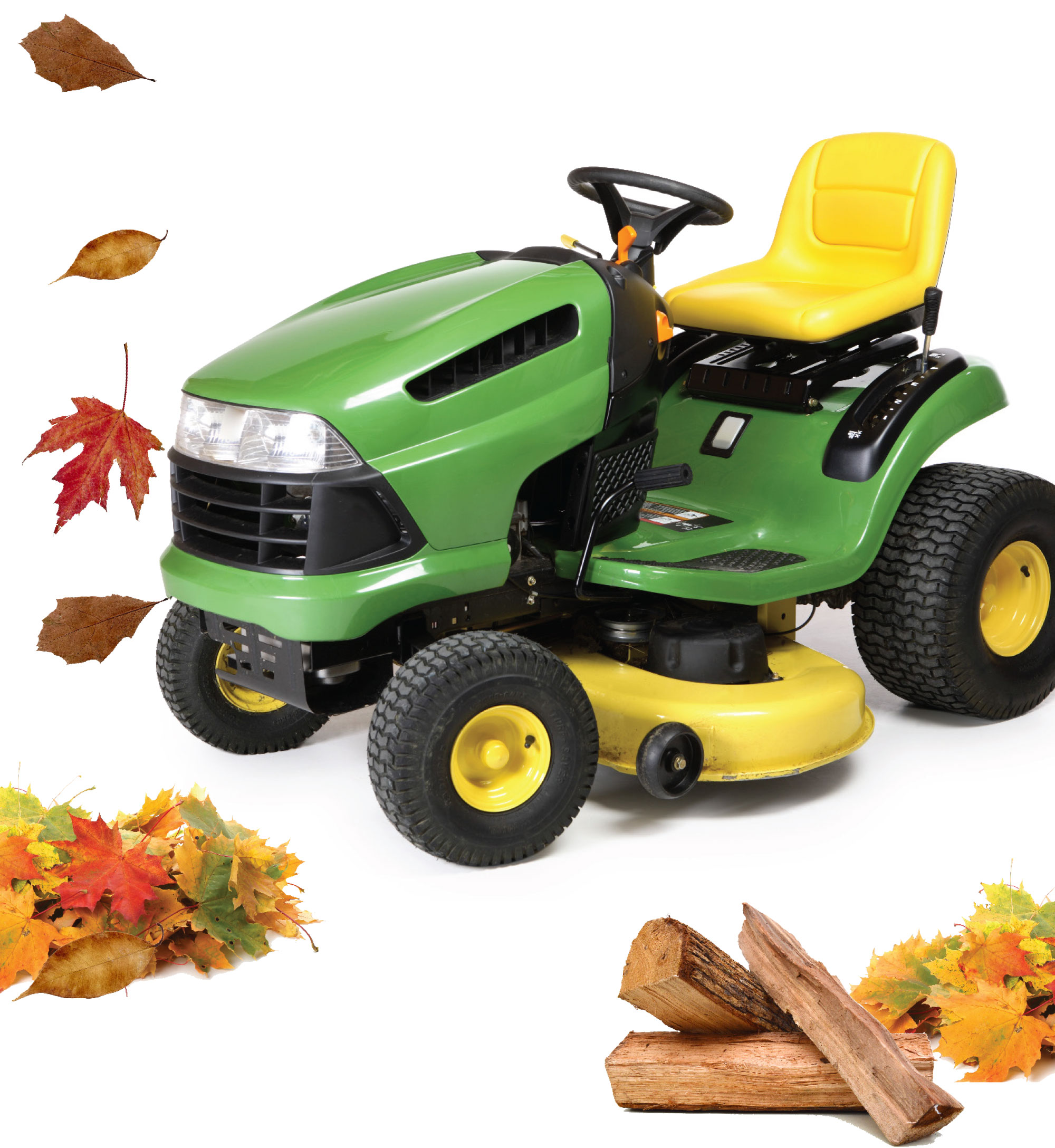 Lawnmower with leaves and firewood showing three steps to prevent pests from getting into your house.