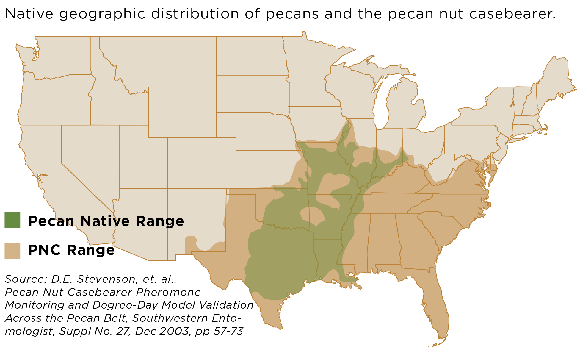 Map: Native geographic distribution of pecans and the pecan nut casebearer.Source: D.E. Stevenson, et. al.. Pecan Nut Casebearer Pheromone Monitoring and Degree-Day Model Validation Across the Pecan Belt, Southwestern Entomologist, Suppl No. 27, Dec 2003, pp 57-73