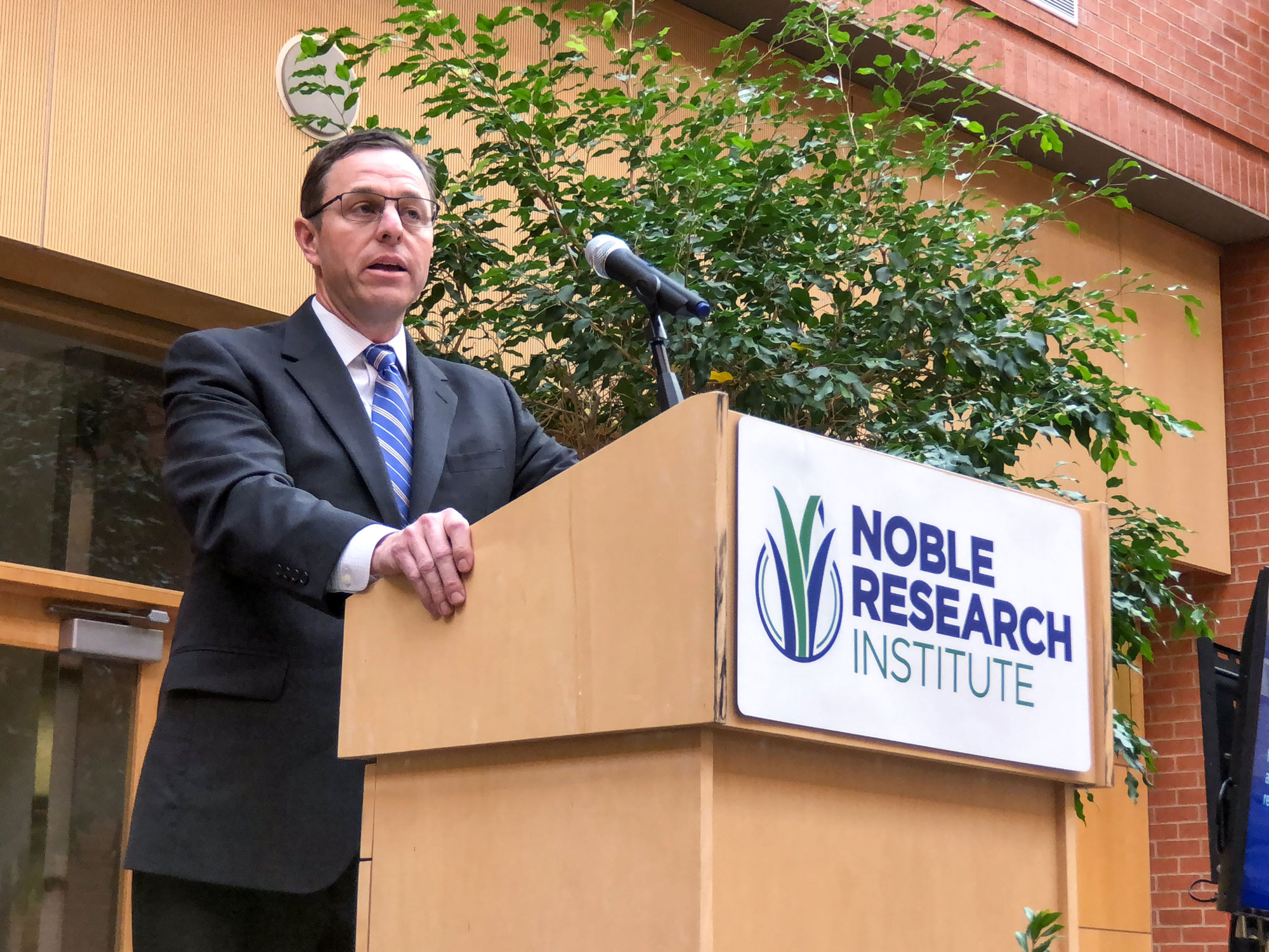 Steven Rhines addresses the Noble Research Institute employees. He becomes the ninth president in Noble's 74-year history.